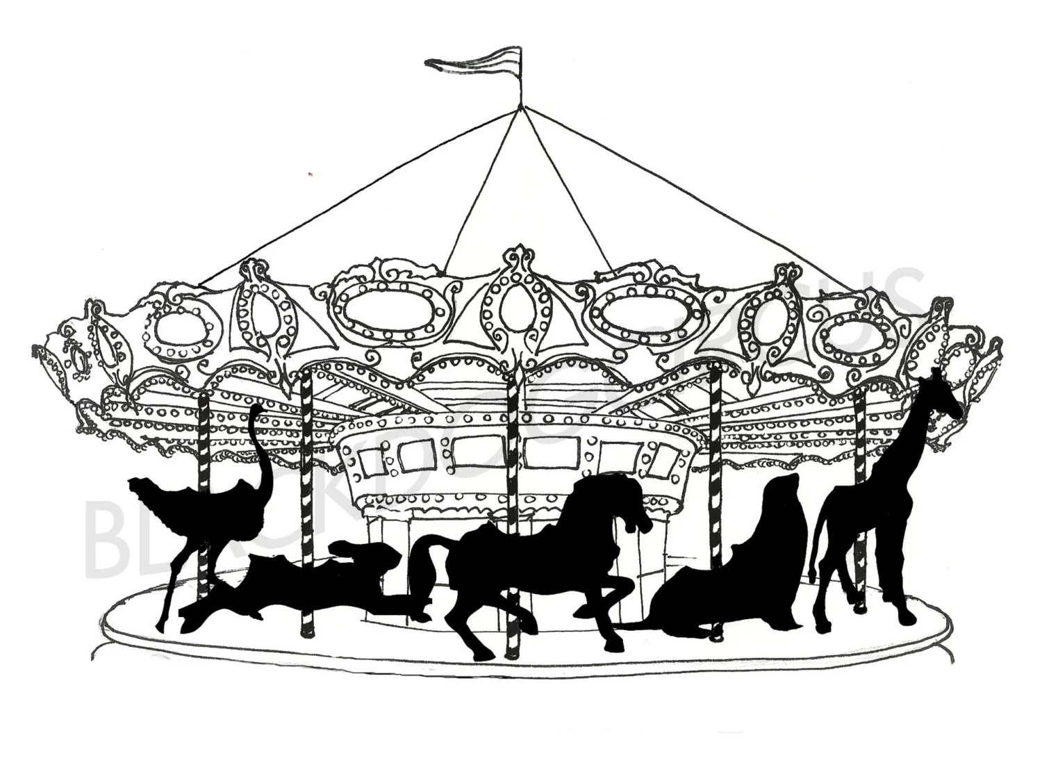 Items similar to Carousel Black and White print from an