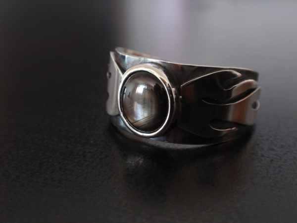 Black Star Sapphire Ring Unique Mens Crazyassjd