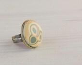 Unique handmade adjustable jewelry ring modern ceramic cabochon. - imkajewelry
