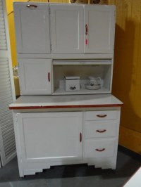 Antique Hoosier Cabinet Red and White 1941