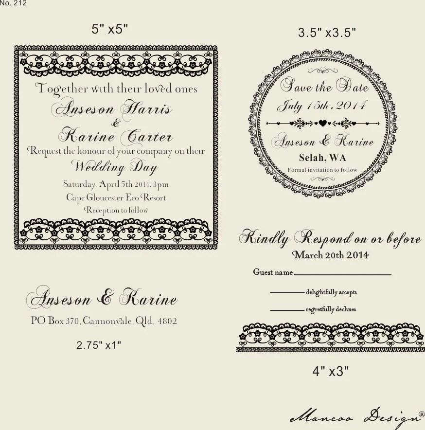 DIY Wedding invitation Rubber Stamp SET with by mancoostamp