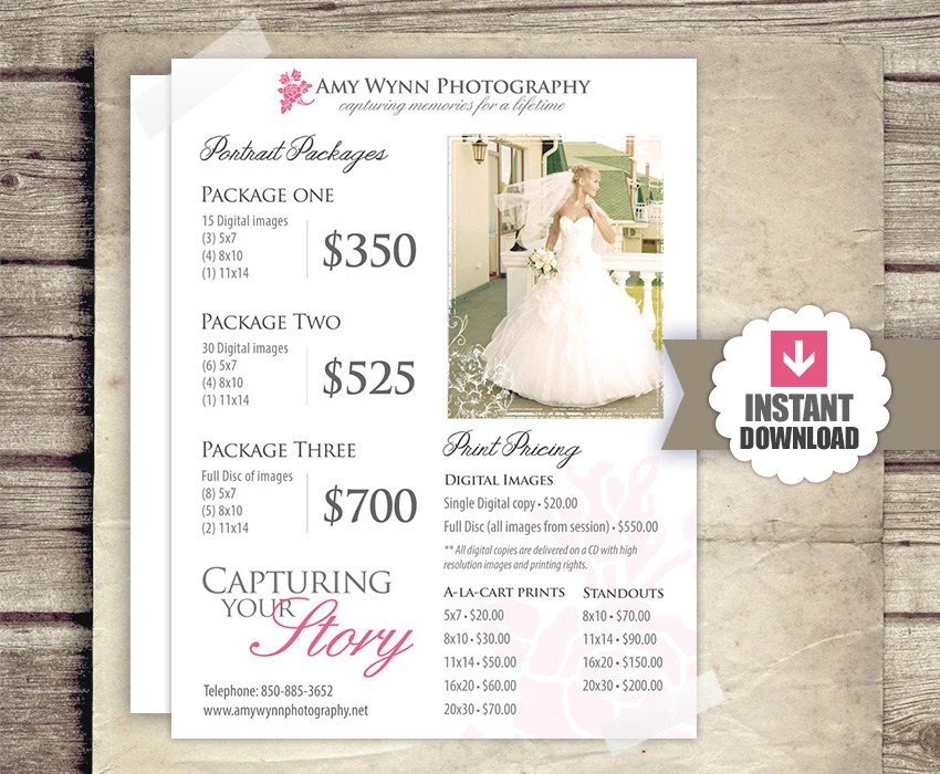 Wedding Photography Price List Session Packages Pricing