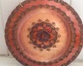Brown, Burnt Orange, Sienna Tribal Art Wooden Plate - AnniesHive