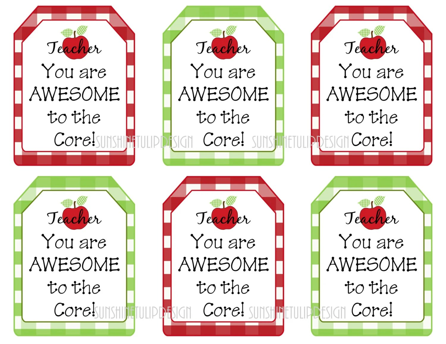Printable Teacher Appreciation Tags Teacher You Are Awesome