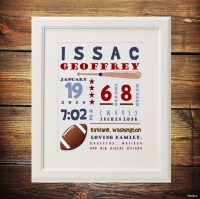 Sports Themed Nursery Wall Art Baby Birth Stats Print Baby