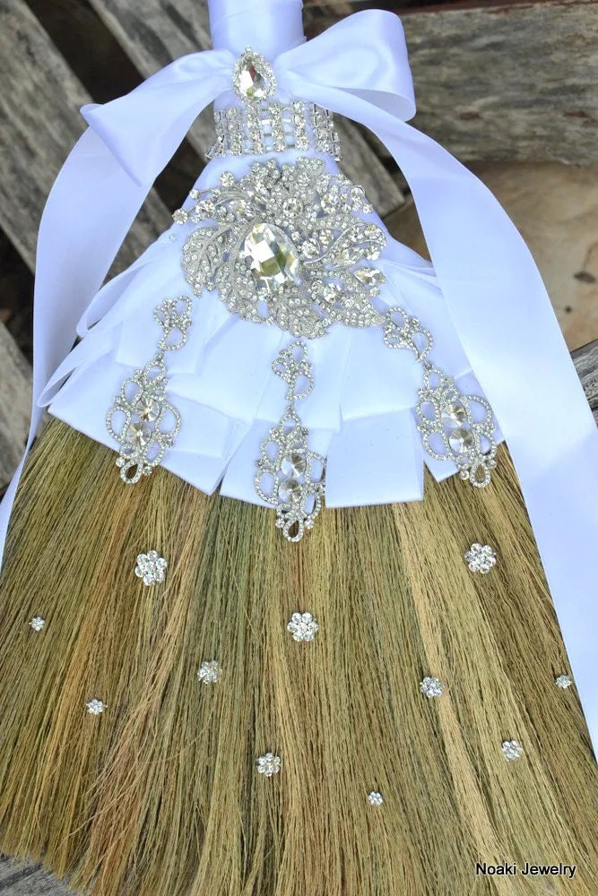Diamante wedding broom made to order wedding jumping by Noaki