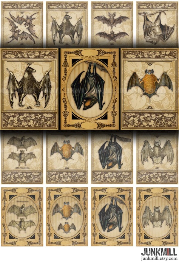 Victorian Bats - Digital Printable Collage Sheet Antique