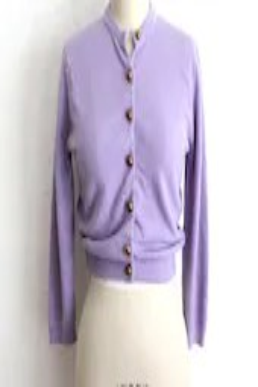Vintage 50s Retro Lavender Soft Shrunken Cardigan with Gold Metal Buttons - vauxvintage