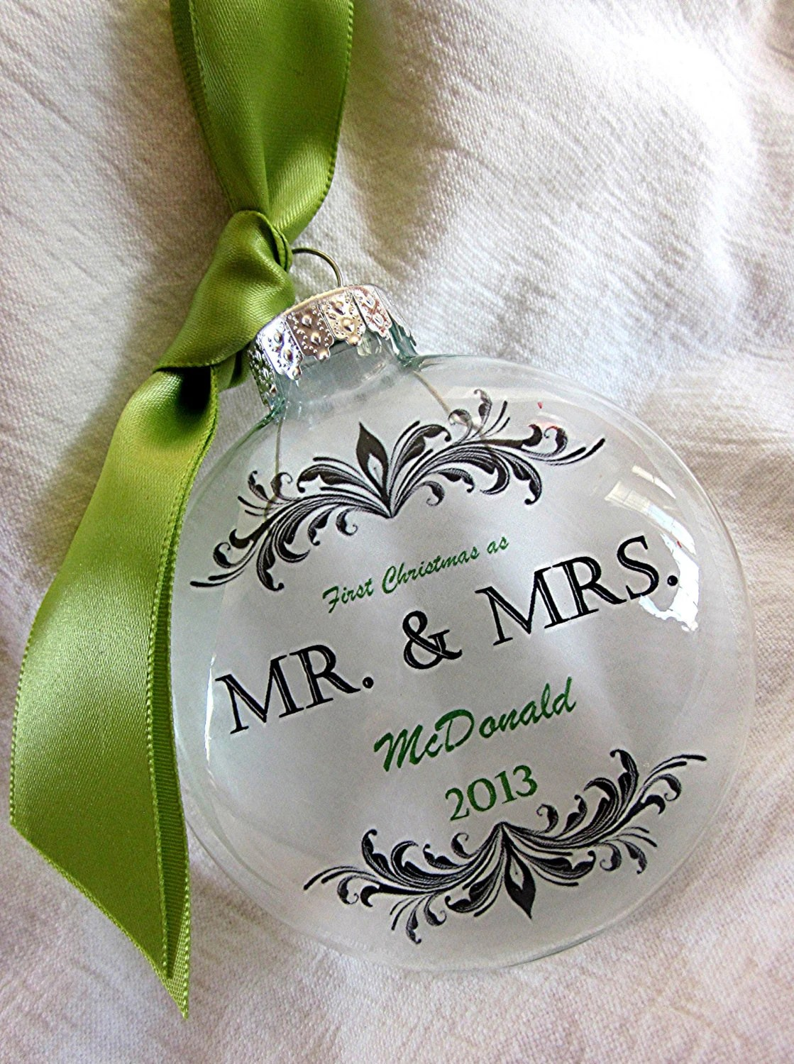 MR  MRS Custom First Christmas Wedding Holiday Glass Ornament