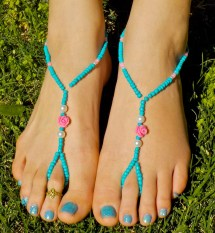 Turquoise Pearl And Pink Rose Wedding Barefoot Sandals Bridal