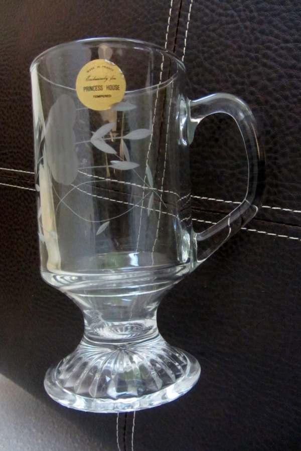 Vintage Princess House Crystal Irish Coffee Mugs Glass