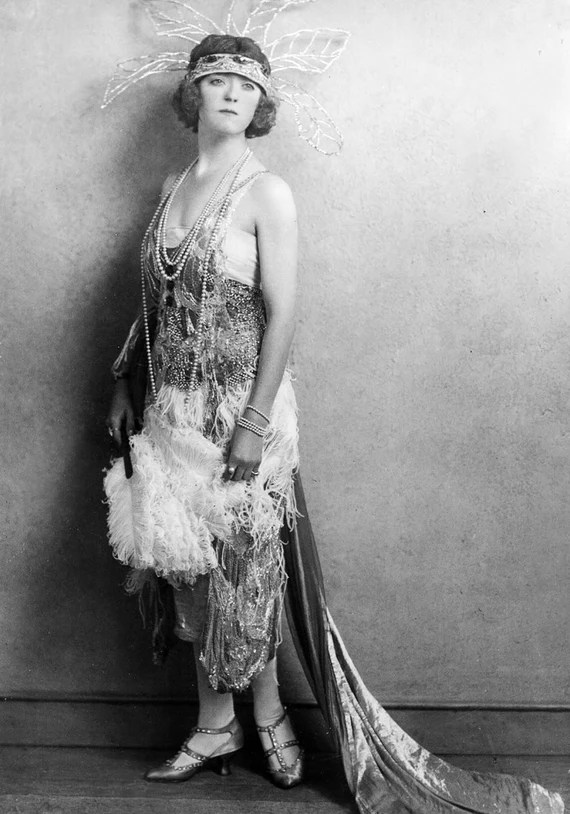 Items similar to Flapper, Dress, Beads, Ostrich Feathers ...