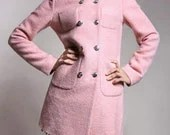 women light pink long Wool coat jacket epaulette four pocket double breasted button coat winter coat  S,M,L,XL - fashionclothingshow