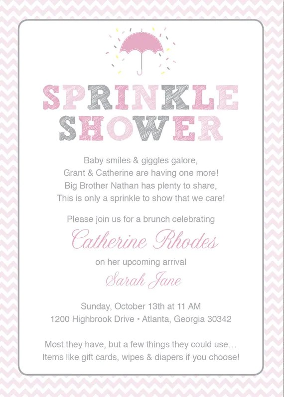Pink Baby Sprinkle Shower Invitation  Pink by HappyHeartPrinting