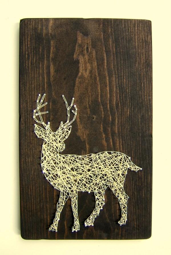 White Tailed Deer Silhouette Modern String Art Tablet