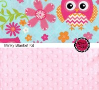 Cotton and Minky Baby Blanket Kit CHEVRON OWL fabric and Light