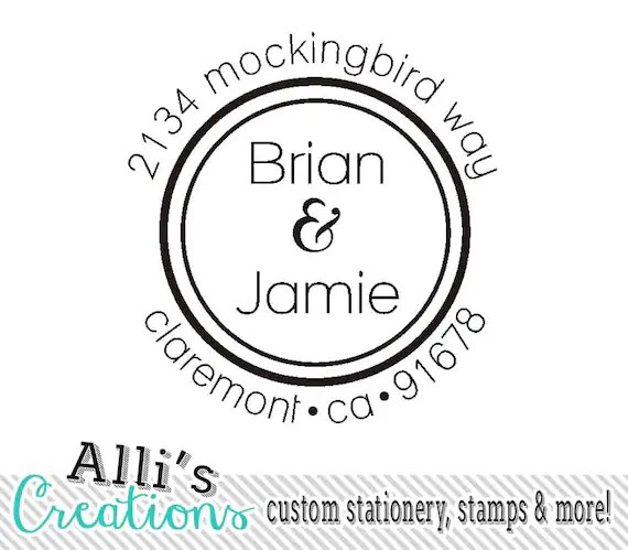 Couples Return Address Stamp Round Self Inking by