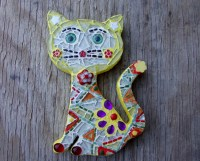 Talavera Cats Mosaic Wall Art Small