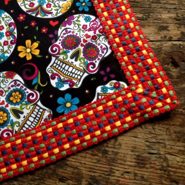 Day of the Dead Sugar Skulls Mexican Tablecloth Black by