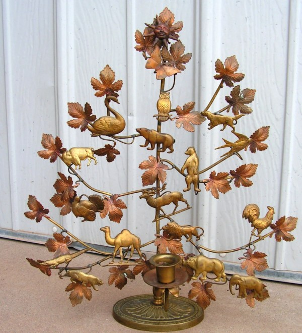 Christmas Tree Candle Holder Brass