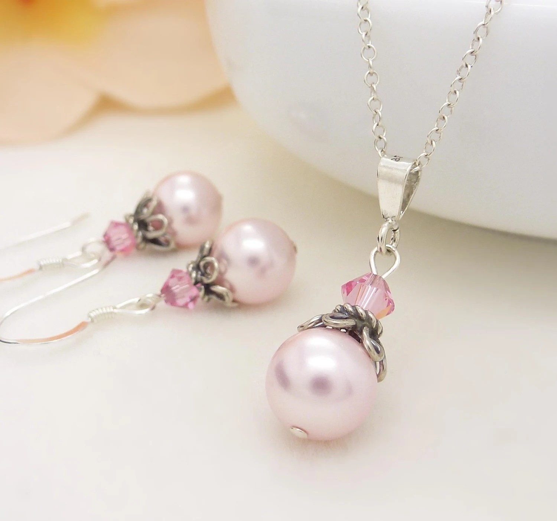 Light Pink Bridesmaid Jewelry Set Pastel By