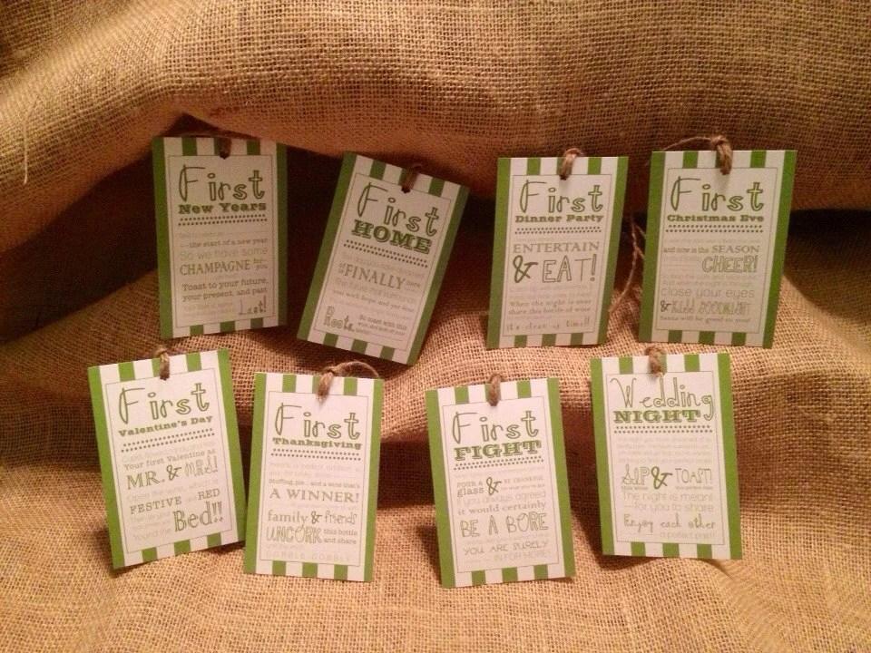 Set Of 8 Bridal Shower Wine Basket Gift Tags Stripe