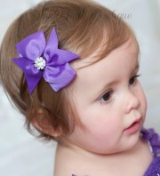 hair bows baby clips purple