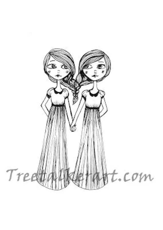 Items similar to Original Drawing of Two Sisters on Etsy