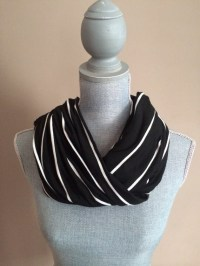 Infinity Scarf with Hidden Pocket Knit Black and Skinny