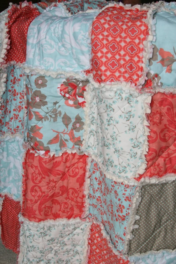 Crib Rag Quilt Baby Girl Bedding Coral Aqua Tiffany Blue