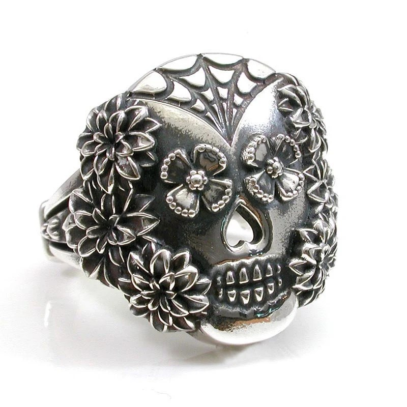 Items similar to Spider Web and Flowers Sugar Skull Ring