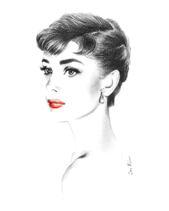 Audrey Hepburn Portrait Sabrina Charcoal Pencil Drawing Etsy