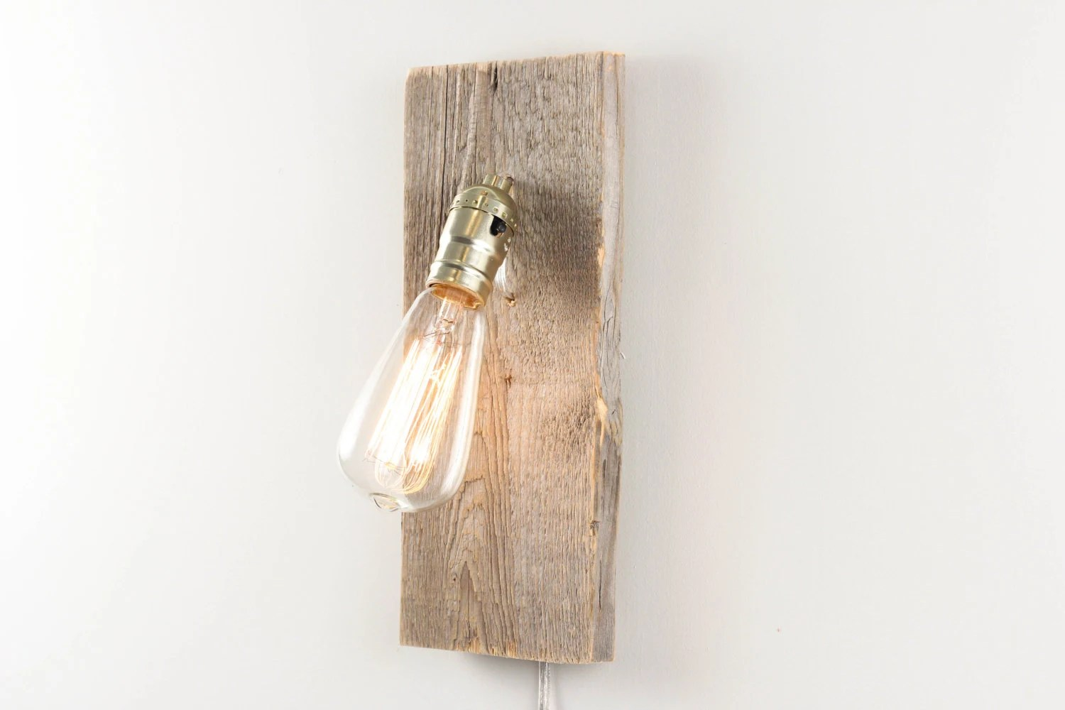 Salvaged Wood Wall Lamp- Rustic Wall Sconce, Salvaged Wood Lamp, Exposed Edison Bulb Lighting, Modern Rustic Decor - WorleysLighting