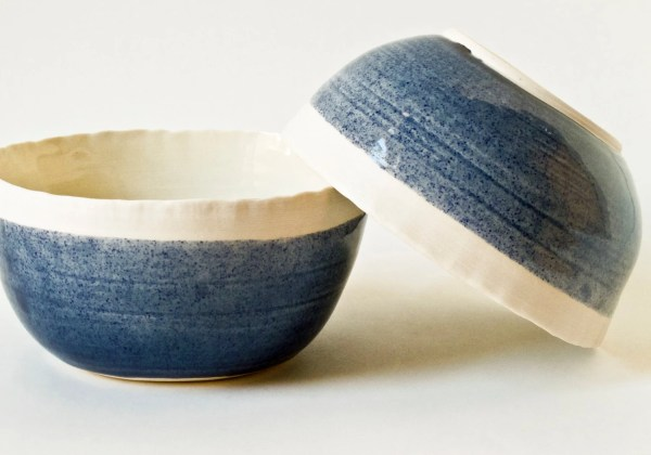 Blue Porcelain Soup Cereal Bowls B9 Fisheyebrooklyn
