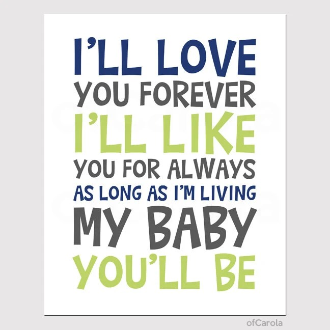 I'll Love You Forever Print - Baby Nursery Love Text Quote Wall Art Print PERSONALIZED -  Navy Blue Lime Green White Gray, 8x10 inch - ofCarola