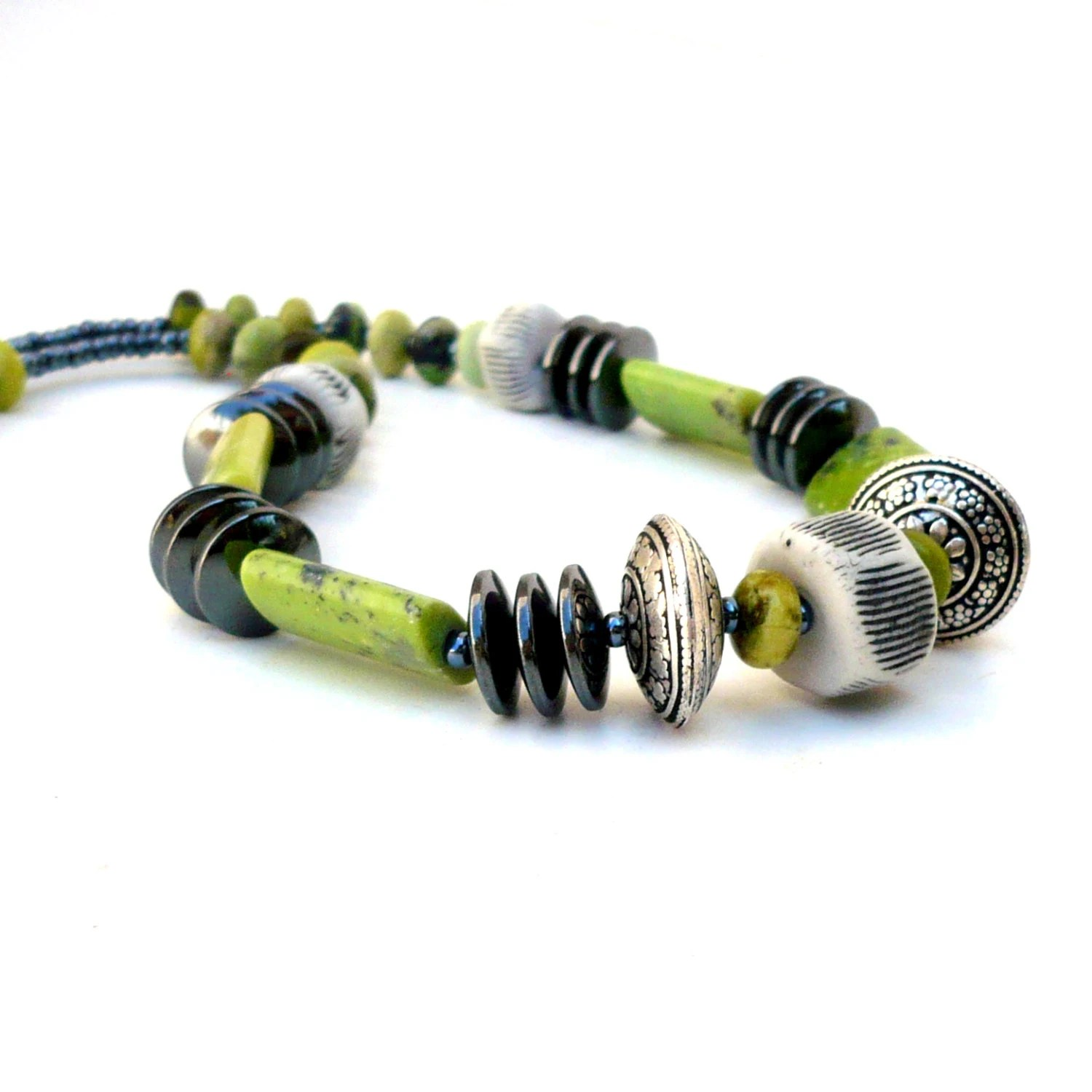 Green, Gunmetal And Porcelain Necklace - BlueMagpieDesign