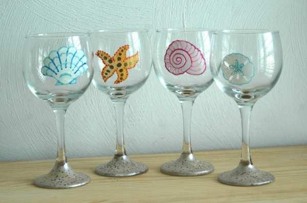 Hand Painted Beach Wine Glasses With Seashells Sand Dollar