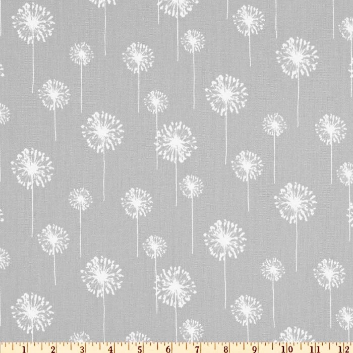 Grey Dandelion Fabric by the yard yardage home decor Premier