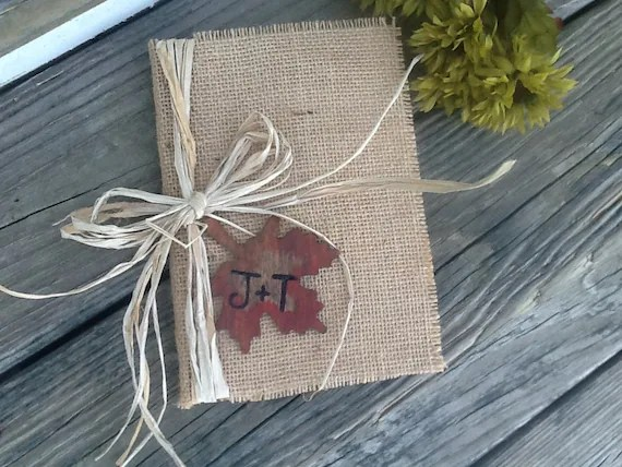 Personalized rustic wedding guest book fall wedding by