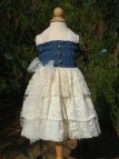 Little Girl' Denim And Lace Country Ruffles Dress Size