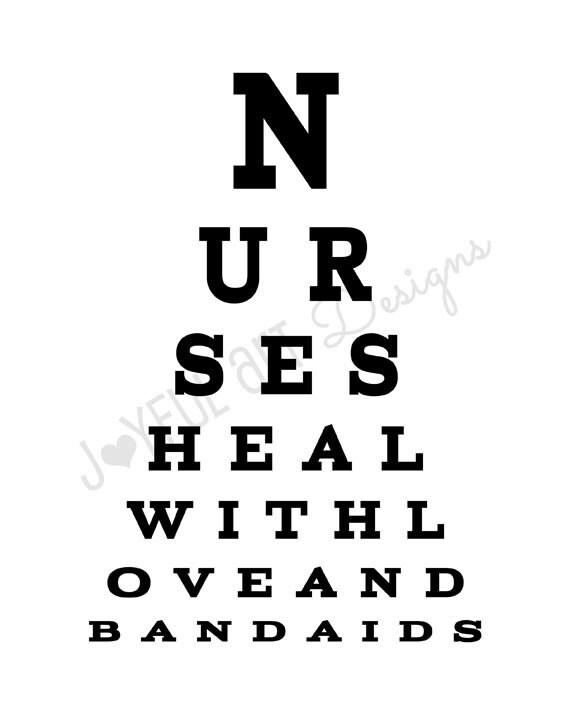 Nurse Eye Chart PRINTABLE. Nurses Heal With Love and