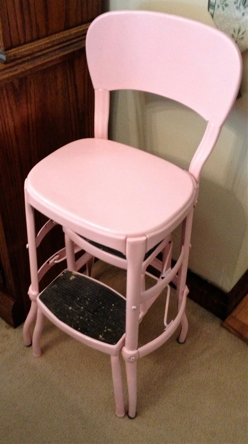 vintage kitchen step stool chair cabinet design pink costco stepstool local pick up only