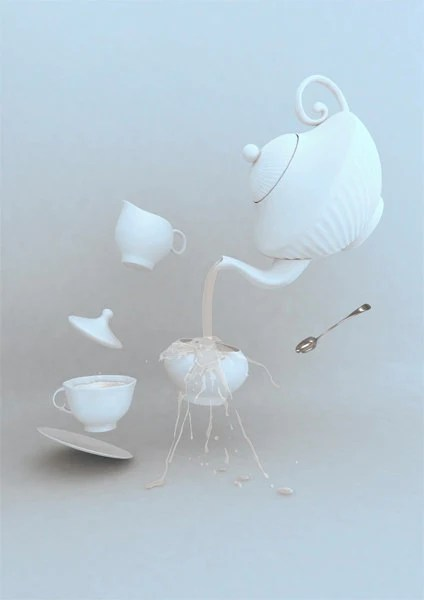 "Tea Hour, ethereal illustration Artwork print - White elegant Chaos Poster A4 - 8x12 "" - ArtNostalgia"