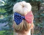 Red White and Blue American Flag Fabric Hair Bow Clip - themanebowtique
