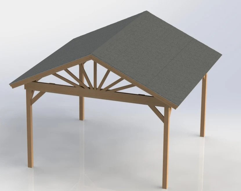 Gable Roof Gazebo Building Plans 16'x16' Perfect For