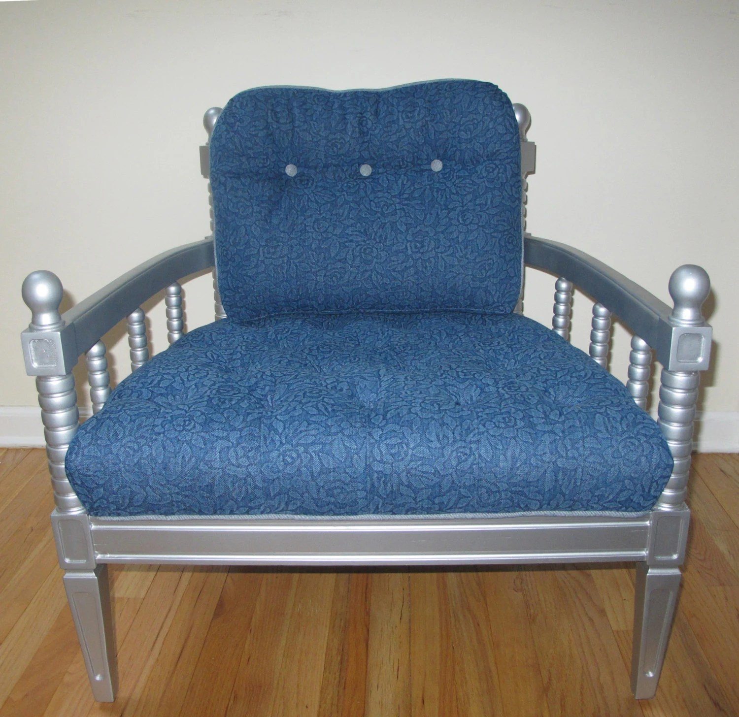 Denim Chair Vintage Denim Throne Chair With Silver Frame By