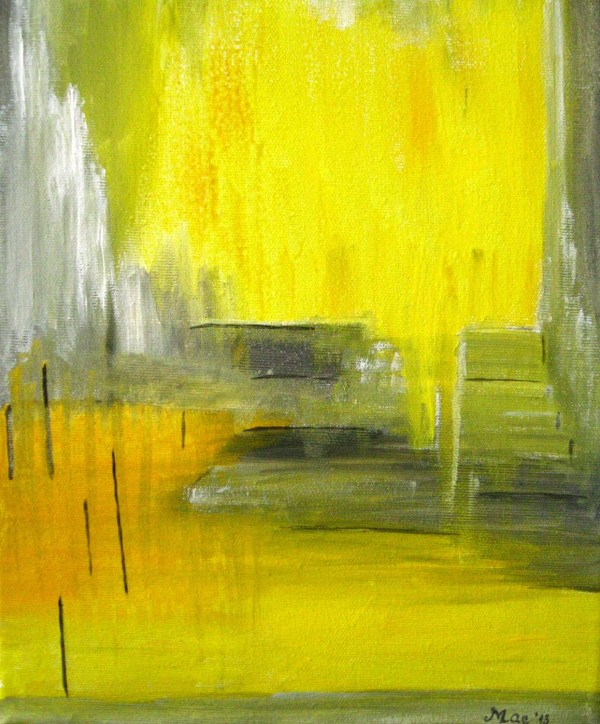 Yellow Grey Abstract Painting Canvas Art Original