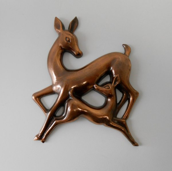 Mid Century Modern Danish Metal Wall Art Deer
