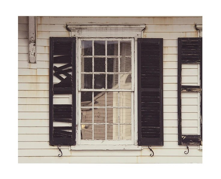 Abandoned Building Coastal Home Photography / Black and White / Rustic Decay Photography / Window Photography / Halloween Decor - JillianAudreyDesigns