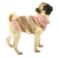 Knitted Dog Sweater Sizes XXS to Large in Pink Brown & Ivory
